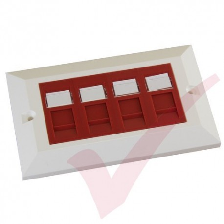 Excel Cat5e Double Faceplate with 4x RJ45 Modules Red