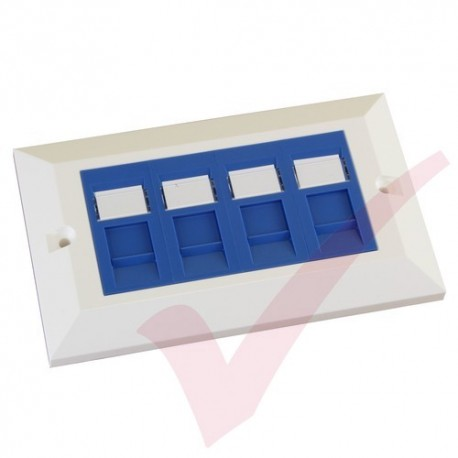 Excel Cat5e Double Faceplate with 4x RJ45 Modules Blue