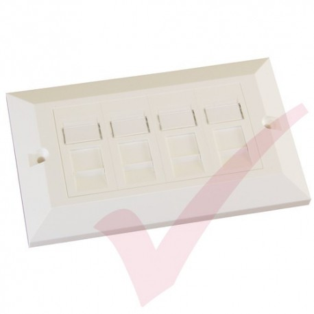 Excel Cat6 Double Faceplate with 4x RJ45 Modules White