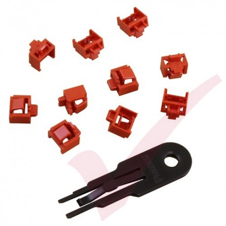 Panduit RJ45 Blockout Device - 10 Data Comm Jack Inserts and Removal Tool in Red PSL-DCJB