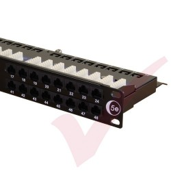 48 Port Cat5e Patch Panel 1U UTP Angled Easy Punch