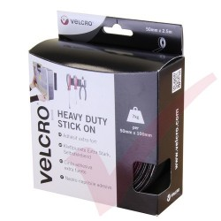 Velcro Heavy Duty Stick On Tape 50mm x 2.5mtr Black