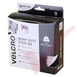 Velcro Heavy Duty Stick On Tape 50mm x 2.5mtr White