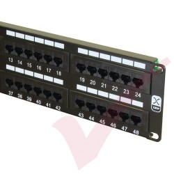 Excel 48 Port Cat5e Patch Panel 2U UTP Punch Down - Black