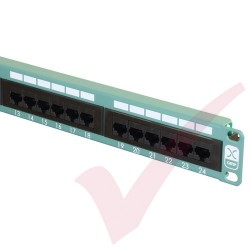Excel 24 Port Cat5e Patch Panel 1U UTP Punch Down - Green