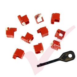 Panduit RJ45 Lock-In Devices - 10x RJ45 Plug Lock Inserts & Removal Tool in Red PSL-DCPLX