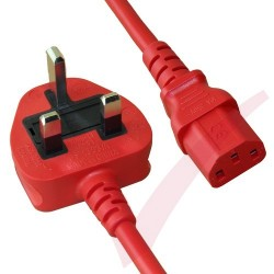 2.5 Metre Red - UK Mains Plug (10 Amp) - C13 High Grade PVC Power Cable