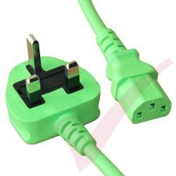 2.5 Metre Green - UK Mains Plug (10 Amp) - C13 High Grade PVC Power Cable
