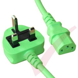 2.5 Metre Green - UK Mains Plug (10 Amp) - C13 High Grade PVC Power Cable
