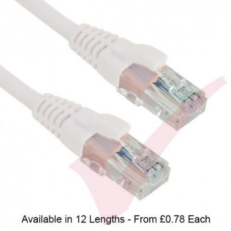 White - Excel Cat5e UTP RJ45 24AWG LSZH Gigabit Snagless Booted Patch Leads