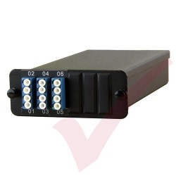 MTP OS2 Fibre Cassette 6 Duplex 12 Core LC to 1x 12C MTP (Express, Easy & Expandable MPO Solution)