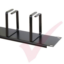 Black 2U 4 Ring Cable Tidy (100mm Rings) Cable Management