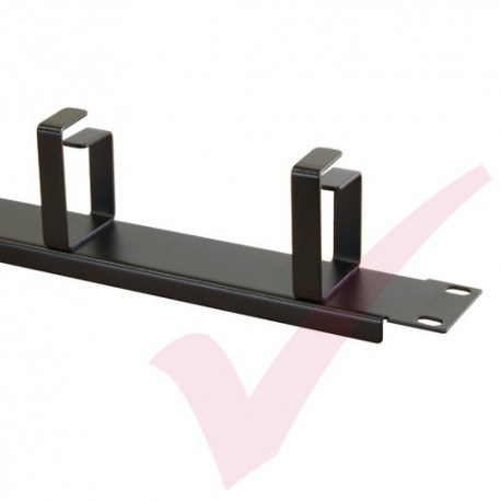 Black 1U 4 Ring Cable Tidy (66mm Rings) Management Bar