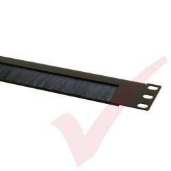 Black 1U Half Open Style Brush Strip Panel