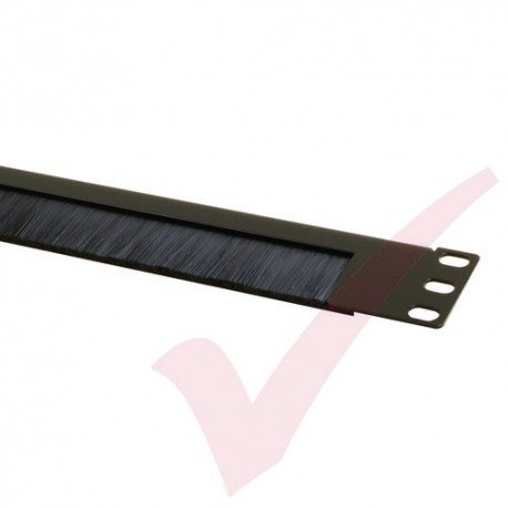 Black 1U Half Open Style Brush Strip Panel