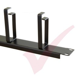 Black 1U 4 Ring Cable Tidy (100mm Rings) Management Bar