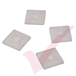 Neutral Adhesive Cable Tie Base - 100 Pack