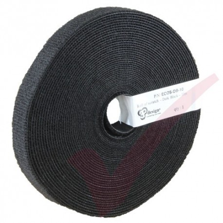 10 Metre Black 3P Eco Scratch Velcro Reel Hook & Loop - ECOS-DB-10