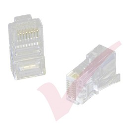 UTP RJ45 Crimp Plug for Cat5e Un-shielded Solid Cable - 100 Pack