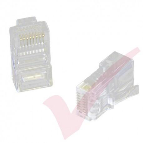 UTP RJ45 Crimp Plug for Cat5e Un-shielded Solid Cable - 100 Pack