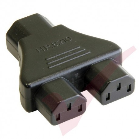 IEC Male (C14) to Dual IEC Female (C13) Y Power Adapter