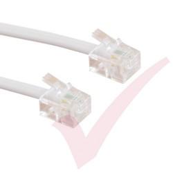 White RJ11 - RJ11 ADSL Modem Cable 6P4C