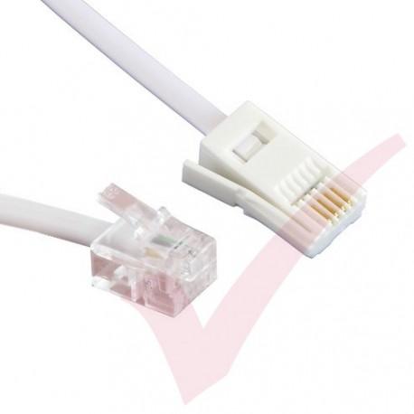 White BT Male - RJ11 Male 2 Wire Cable