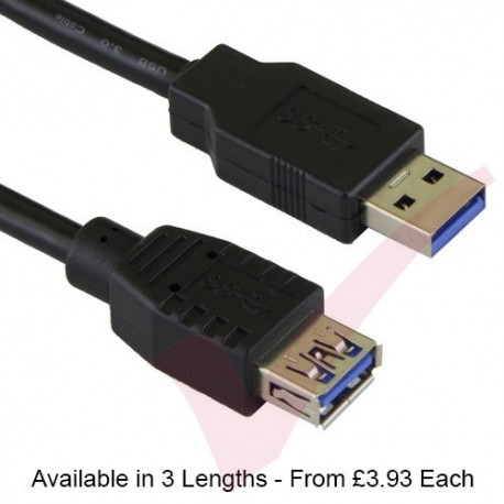Black - USB 3.0 Superspeed Data Cable A Male to B Female, 5mm Diameter