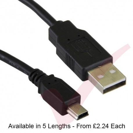 Black - USB 2.0 A Male to MINI B Data Cable