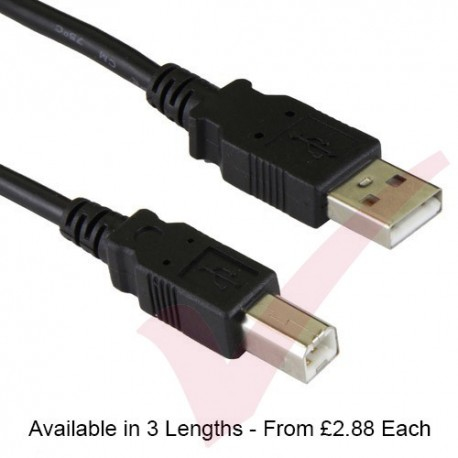 Black - USB 2.0 A Male to B Male Premium Data Cable