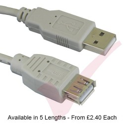 Beige - USB 2.0 A Male to A Female Extension Cable
