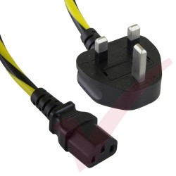 1.8 Metre (6ft) Black & Yellow - UK Plug to IEC C13 Connector Caution Black & Yellow Cable