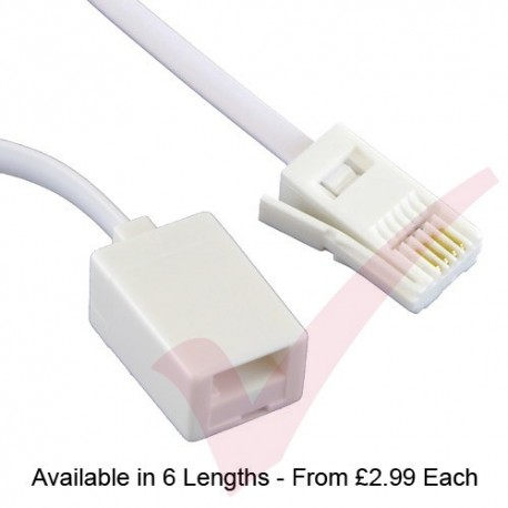 White BT Male - Female Extension Cable