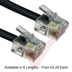 Black - RJ12 ROLLOVER 6 Wire Cat5e UTP PVC labelled rollover