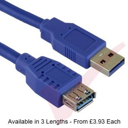 Blue - USB 3.0 A Male to A Female Superspeed Data Cable