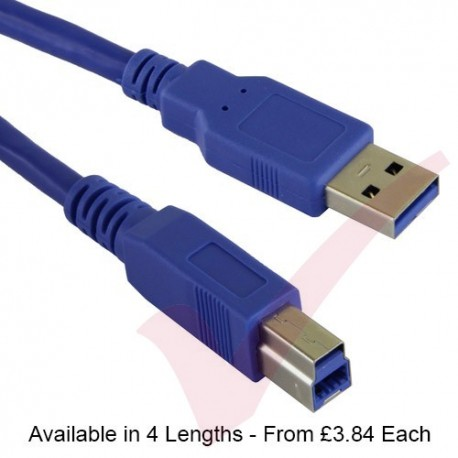 Blue - USB 3.0 A Male to B Male Superspeed Data Cable