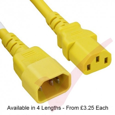 C13 to C14 Premium SJT Power Cable Yellow