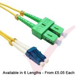 LC to SC/APC Fibre Patch Cables OS2 Singlemode Yellow