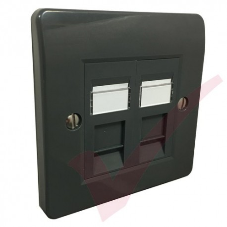 Excel Cat5e Grey Office Single Faceplate with 2x RJ45 Module