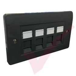 Excel Cat5e Grey Office Double Faceplate with 4x RJ45 Modules