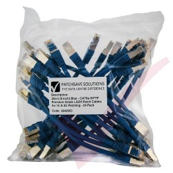 24 Pack of 20cm (8-inch) in Blue - Cat6a S/FTP Premium Grade LSZH Patch Cables for 2U Patching