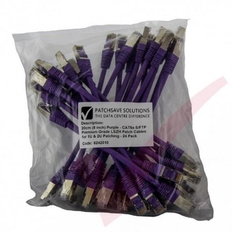 24 Pack of 20cm (8-inch) in Purple - Cat6a S/FTP Premium Grade LSZH Patch Cables for 1U & 2U Patching
