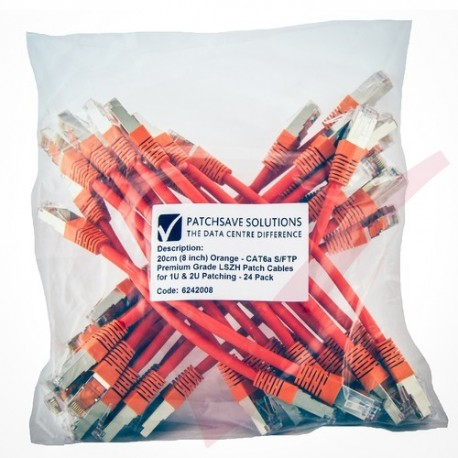 24 Pack of 20cm (8-inch) in Orange - Cat6a S/FTP Premium Grade LSZH Patch Cables for 1U & 2U Patching