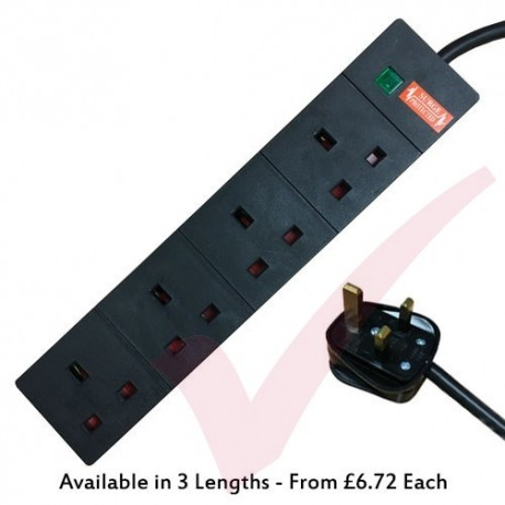 Black - 4 Way Socket Gang Block Surge and Spike Protected Extension Lead