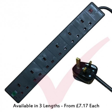 Black - 6 Way Socket Gang Block Surge and Spike Protected Extension Lead