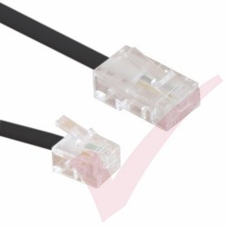 Black RJ11 - RJ45 Cable 4 Core Straight Through Modem Lead