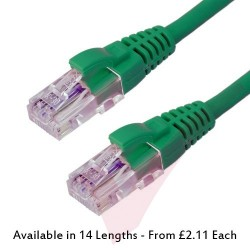 Excel Cat6 Patch Cables RJ45 UTP LSZH Snagless Booted Green