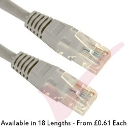 Cat5e Patch Cables RJ45 UTP High Grade PVC Flush Booted Grey