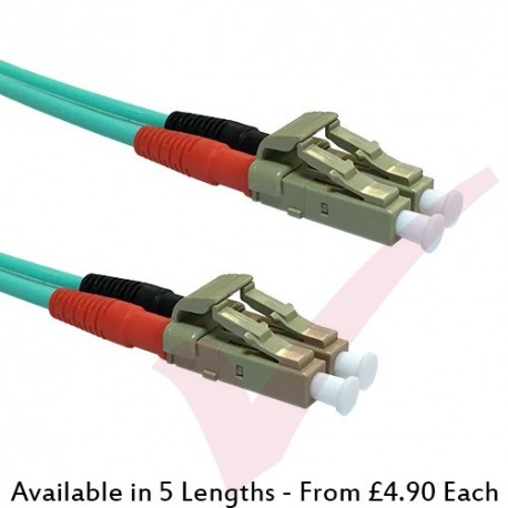*SHORT BOOT* LC to LC Fibre Patch Cables OM3 Multimode Duplex Aqua Blue