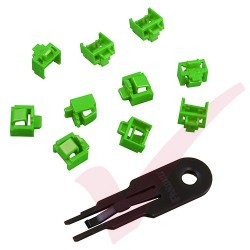 Panduit RJ45 Blockout Device - 10 Data Comm Jack Inserts and Removal Tool in Green PSL-DCJB-GR